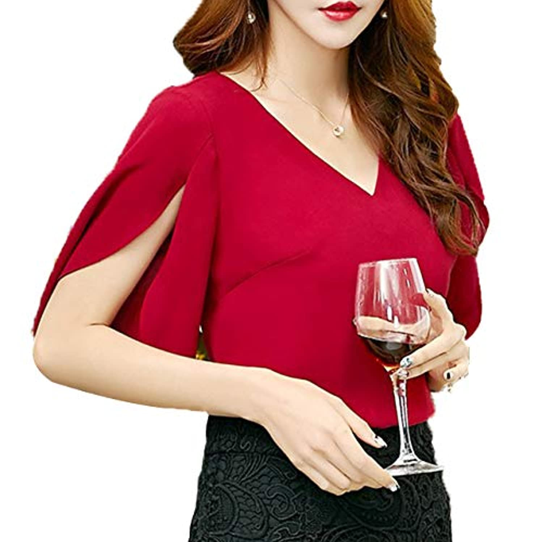 アイドル欠乏辛い[ココチエ] ブラウス とろみシャツ 半袖 プルオーバー レディース セクシー トップス フリル袖 華やか パーティ 5分袖 ゆったり おおきいサイズ おしゃれ とろみ 二の腕カバー Vネック 黒 赤 ベージュ
