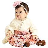 Sweet Mommy 袴 ロンパース ベビー 着物 カバーオール 日本製和柄ちりめん オーガニックコットン身頃 アプリコット 80