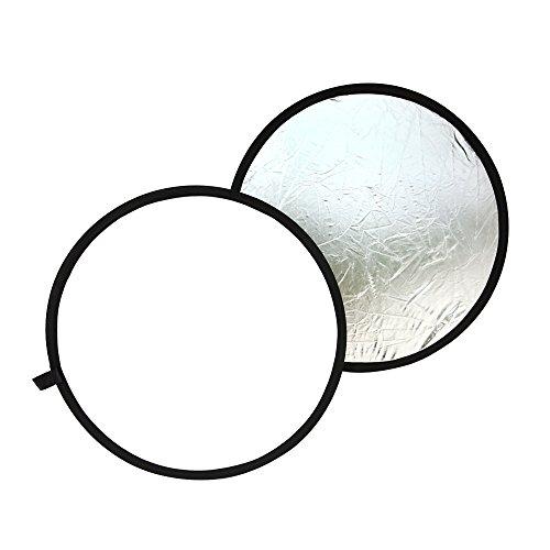 TARION 撮影用 丸レフ板 直径80cm 折りたたみ可能 銀&白 拭き布付き