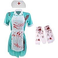 Lovoski レディース 恐ろしい 血まみれ グリーンドレス エプロン ハット ストッキング 看護婦 ドクター 衣装 ハロウィン 仮装セット