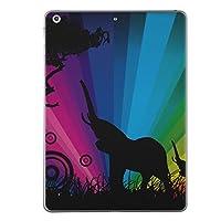 第5世代 iPad iPad5 2017年モデル スキンシール apple アップル アイパッド A1822 A1823 タブレット tablet シール ステッカー ケース 保護シール 背面 人気 単品 おしゃれ アニマル ゾウ レインボー 001049