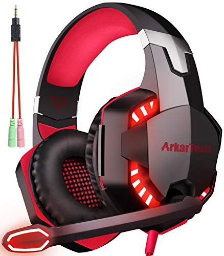 ARKARTECH G2000 ゲーミング ヘッドセット ヘッドホン ヘッドフォン マイク付き ゲーム用 PC パソコン 対応 プレゼント 女性 男性 子供 兼用 レッド