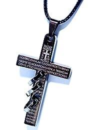 ルード系スタイル 聖書文字&十字架&トリプルリング装飾 ローマクロスデザイン メタルブラックカラー メンズ ステンレス ペンダント ネックレス