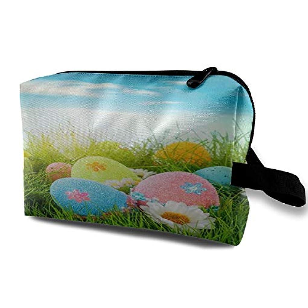 追跡切り離すお父さんCute Fresh Grass Easter Eggs 収納ポーチ 化粧ポーチ 大容量 軽量 耐久性 ハンドル付持ち運び便利。入れ 自宅?出張?旅行?アウトドア撮影などに対応。メンズ レディース トラベルグッズ