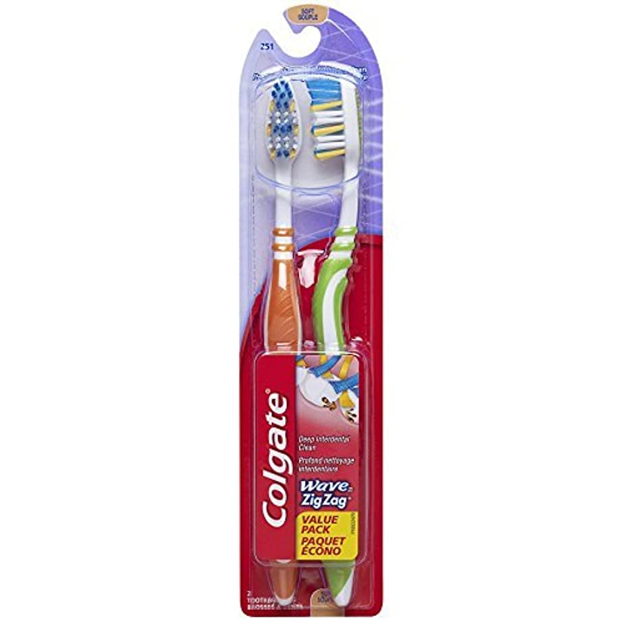 劇的聖歌モジュールColgate Wave Zig Zag Toothbrush Soft 2 Count (Pack of 6) [並行輸入品]