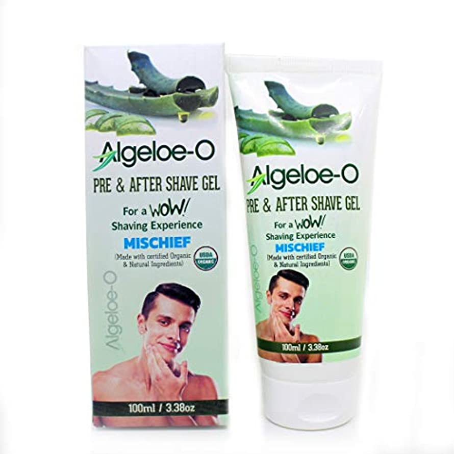 アジテーション緩むマーティフィールディングAloevera Pre And After Shave Gel - Algeloe O Made With Certified USDA Organic And Natural Ingredients - Mischief 100 ml (3.38 Oz.)
