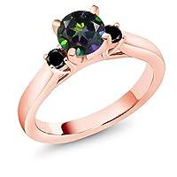 Gem Stone King 1.24カラット 天然石 ミスティックトパーズ (グリーン) 天然ブラックダイヤモンド シルバー925 ピンクゴールドコーティング 指輪 リング