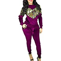 Macondoo Women 2 Piece Sequin Velour Classic Fall/Winter Glitter Tracksuits