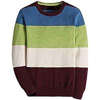 BASADINA Boy's Long-Sleeve Sweater Pullover V-Neck 100% Cotton Multicolor Stripe