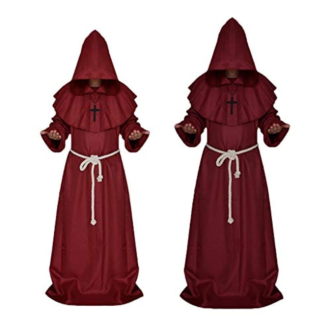 輪郭受賞階下Baoblaze 中世 フード付き 修道士 服 悪魔 衣装 ローブ コート コスプレ ワインレッド m L