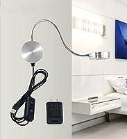 WWMlife 6W グースネック 読書灯 LEDウォールランプ - 2インチ 1台で2役 ナイトライトランプ スイッチ付き 寝室/リビングルーム用 - 温白色ライト 調節可能 調光/明るいライト 調節可能 BD-TD-21-B