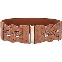 GRACE KARIN Women Stretchy Retro Polyurethane Leather Braided Wide Belt
