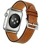 [アイ・エス・ピー]isp Apple WATCH IWATCH アップルウォッチ バンド 高級 レザー 交換 ベルト 上品 ビジネス用 シンプル (42MM, ブラウン)
