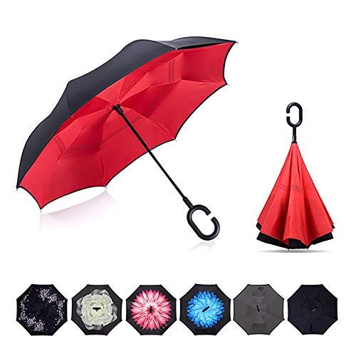 Tooge 長傘 逆折り式傘 カバー付き 自立可能 C型手元 UVカット 8本骨 晴雨兼用