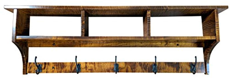 木製Cubbyコートラックシェルフ壁マウントされ、Shaker、5フック、Curly Maple Wood, Michaels Stain