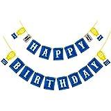 BESTOYARD ハッピーバースデー Happy Birthdayバナー ガーランド 誕生日 結婚式 ベビーシャワー パーティー用品 部屋飾り 青 可愛い