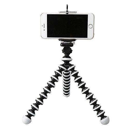 【Tophie】 三脚ホルダー スマホスタンド クネクネ三脚 iphone4/5SE/5/5s/5c/6/6s/6plus /スマートフォン/カメラ/LEDビデオライト用(ホワイト)中型