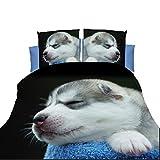 寝具カバー ヨーロッパとアメリカの3D新デザイン眠れる犬寝具セット布団カバーセット L.Z.H (Color : 白, Size : 4pcs)