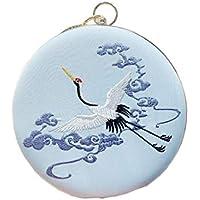ACVIP Women's Teen Girl's Chinese Crane Embroided Round Clutch Wristlet Chain Handbag