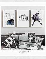 ブラックホワイト抽象少女キャンバス絵画引用壁アートポスタープリント写真リビングルームの装飾-40×60センチ×3ピースフレームなし