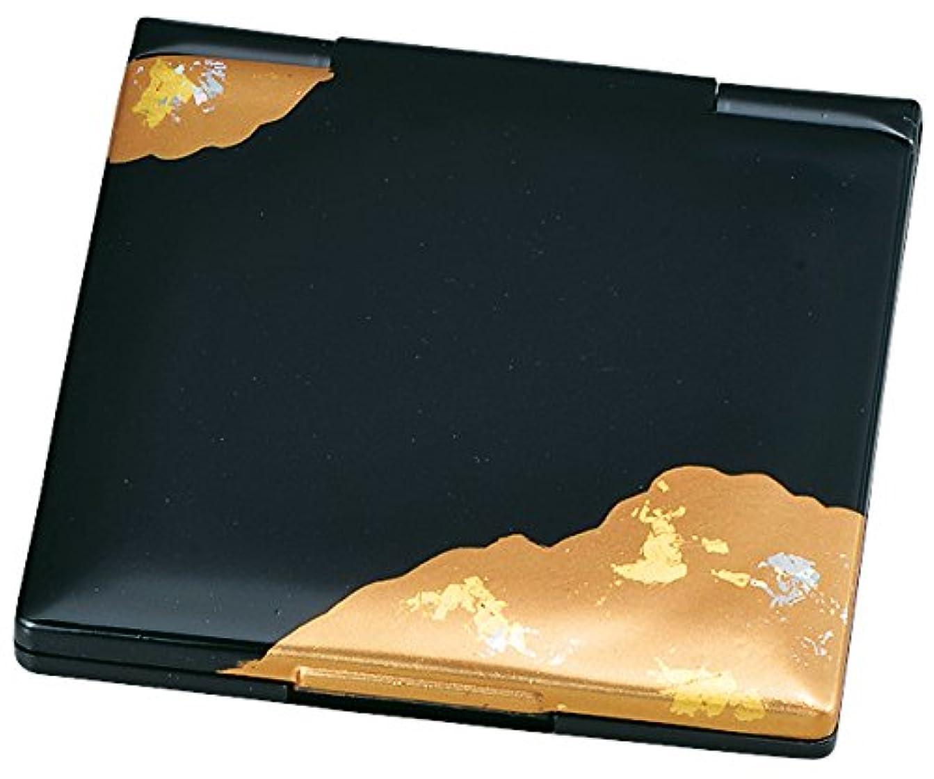 外交官累計見せます中谷兄弟商会 山中漆器 コンパクトミラー 純金箔工芸 黒 金雲33-0401