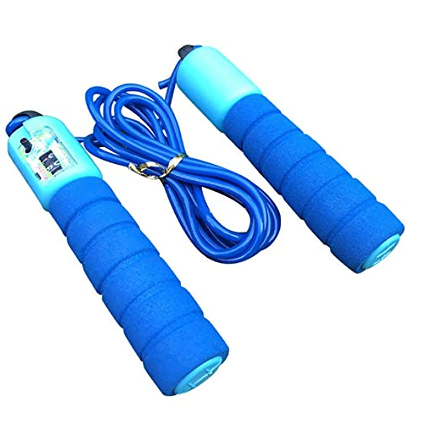 締め切り燃やす圧力調整可能なプロフェッショナルカウント縄跳び自動カウントジャンプロープフィットネス運動高速カウントジャンプロープ - 青