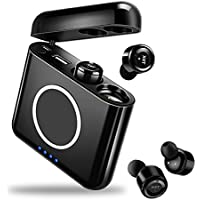 Bluetoothイヤホン 完全ワイヤレス イヤホン 高音質 ブルートゥース イヤホン 音量調節 5200mAh 片耳 両耳対応 マイク内蔵 残量表示 防汗・軽量・長時間再生 大容量充電箱 QI充電やUSB充電対応 iPhone Android 対応