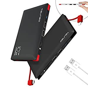 モバイルバッテリー 大容量 ケーブル内蔵 10000mah MFi認証 スマホ 充電器 ライトニング/microUSBコネクタ付 2USBポート 4台同時充電 軽量 持ち運び便利 iphone&ipad&Android対応 (ブラック)