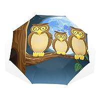 AyuStyle 折り畳み傘 レディース 手開き 日傘 可愛い 動物 フクロウ柄 ふくろう 三つ折り畳み UVカット 晴雨兼用 耐風 黒い裏地 遮光遮熱 8本骨 折りたたみ傘