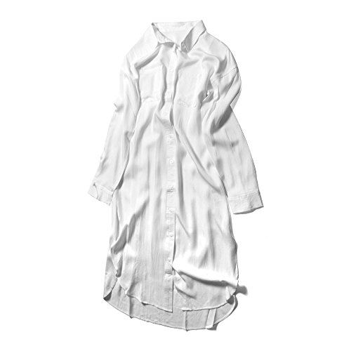 (ファッションレター)FashionLetter2WAYとろみシャツワンピースロングカーディガン長袖秋ワンピースシャツワンピロングワンピースロングシャツミリタリーシャツb313(M,ホワイト)