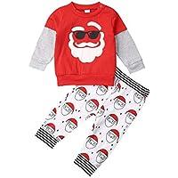 KMBANGI 2Pcs Toddler Kids Baby Boy Girl Christmas Outfits Santa ClausReindeer Long Sleeve T-Shirt Tops Pants Clothes Set
