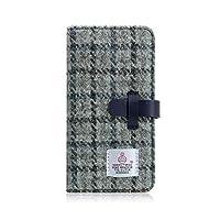 SLG Design iPhone XS Max ケース 手帳型 本革 レザー Harris Tweed Diary グレー×ネイビー 6.5インチ アイフォン カバー ワイヤレス充電対応【日本正規代理店品】 SD13752i65