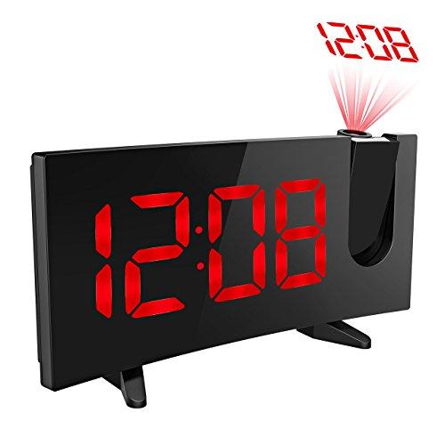 目覚まし時計 置き時計 アラーム クロック プロジェクション 投影 プロジェクター 卓上 デジタル 大音量 大きい液晶ディスプレイ 改良版 二世代 赤い