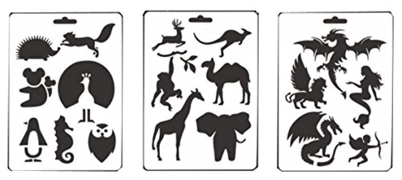 layhomeステンシル子供キッズ動物図面テンプレートスクラップブックalbdum装飾用( 3pack )