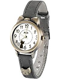 可愛い ねこ 猫 ガールズ 腕時計,fq234 グレー 本革 ベルト 女子 学生 ウォッチ キッズ