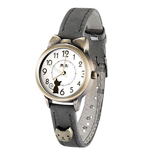 可愛い ガールズ レディース腕時計,fq234 グレー 本革ベルト 女子学生 ウォッチ