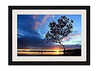 夕方の川の木の太陽 - 木製フレーム額装ポスター 絵画 ホーム壁の装飾 額縁 木枠額装絵画 壁画 50x35cm 黒い枠