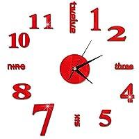 壁掛け時計 3DウォールクロックミラーウォールステッカークリエイティブDIY壁時計リムーバブルアートデカールステッカーホームデコレーションリビングルーム アイデア 自宅 キッチン 装飾用 (Color : Red)