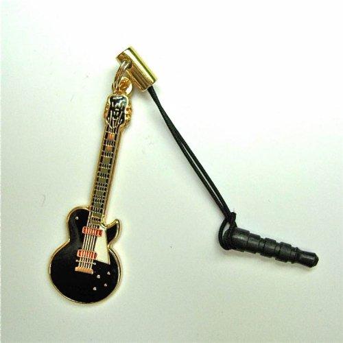 レスポール 黒 ギター スモール 携帯ストラップ スマートフォン イヤホンジャック アクセサリー L. P Guitar Cell Phone Strap