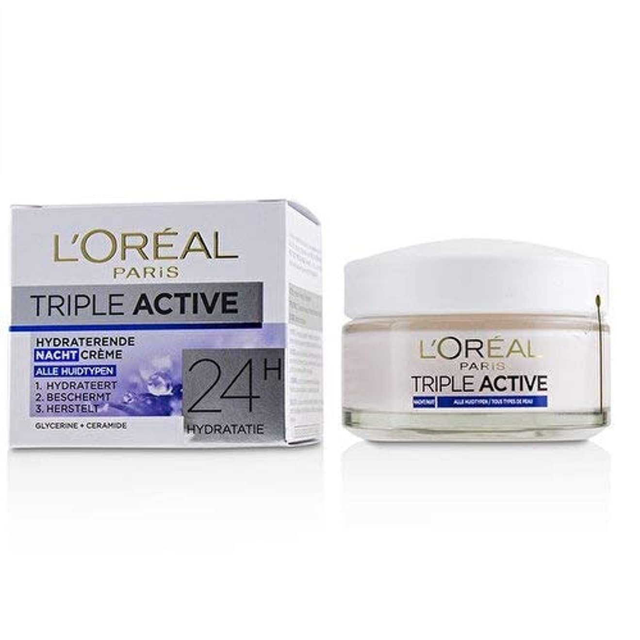 希少性社会主義仲介者ロレアル Triple Active Hydrating Night Cream 24H Hydration - For All Skin Types 50ml/1.7oz並行輸入品