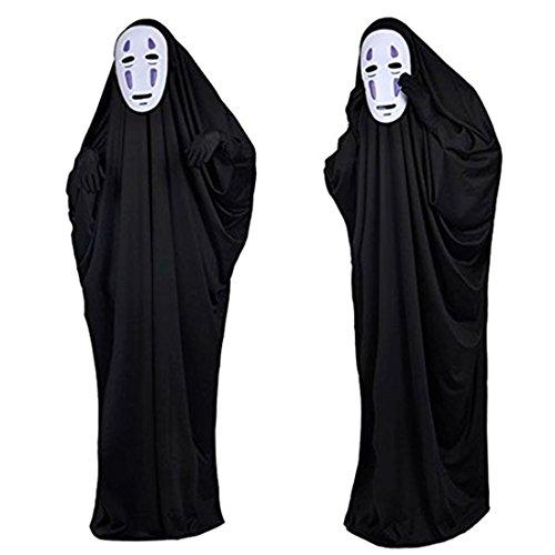 千と千尋の神隠し カオナシ 風 衣装セット (衣装、マスク、手袋) コスチューム 男女共用 (L)
