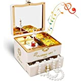 Achort オルゴール 音楽ボックス 回転 引き出し かわいい メイク ボックス 化粧鏡 奥様・彼女へのsurprise ジュエル収納 宝石箱 子供 誕生日 クリスマス ジュエリーボックス プレゼント