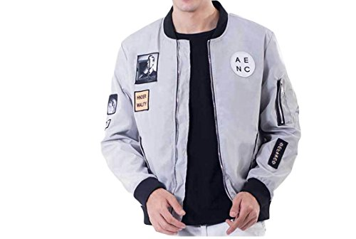 Nicellyer Men Pure Color Print Zip Army Stitching Baggy Bomber Jacket Coat Grey S