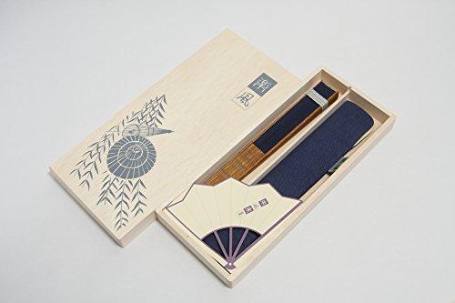 ≪紳士用 扇子≫ 本麻 紺色 差し袋付き 麻素材の扇子です【木箱入り】