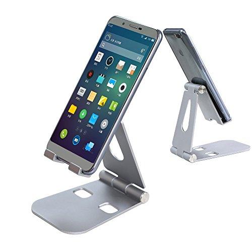 スマホスタンド アルミ 角度調整可能 折りたたみ式 「4~10インチ対応」 iPhone/iPad/Samsung/Galaxy/Sony/Nexus 充電可能 スマホホルダー グレー Aimus