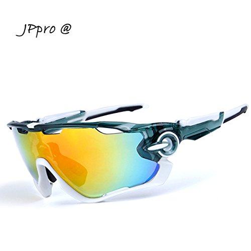 JPpro サングラス スポーツ アウトドア メンズ 偏光 レンズ UV400 紫外線カット ランニング ロードバイク 運転 野球 フィッシング 専用交換レンズ3枚 超軽量 人気(灰色)
