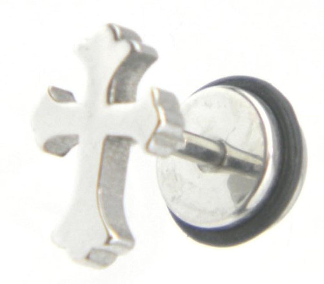栄養断片反対したクロス ピアス ステンレス18G片耳メンズ フローリー/男女兼用