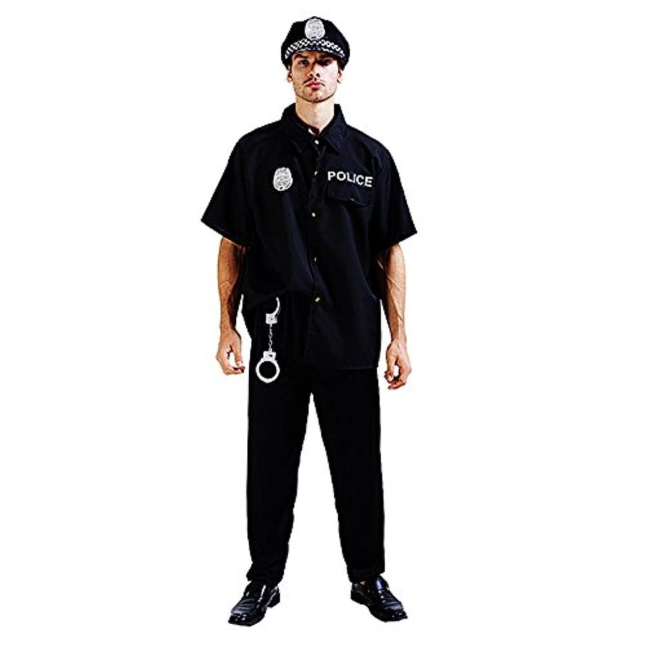 表示寛解ピルファースピナス ハロウィン メンズ コスプレ 警察 制服 ポリス 手錠もついてます コスプレやイベントに大活躍 パーティー 舞台 コスチューム (ブラック)