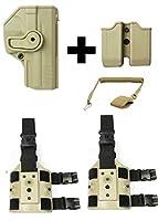 IMI Defense z2040mp04ダブルマガジンポーチ+ z1380360°回転ホルスターH & K HK Heckler & Koch p30、タン+ 2つのセットz2200ドロップ脚アタッチメントリグ+ Ultimate Arms Gearコイル状ピストルランヤード