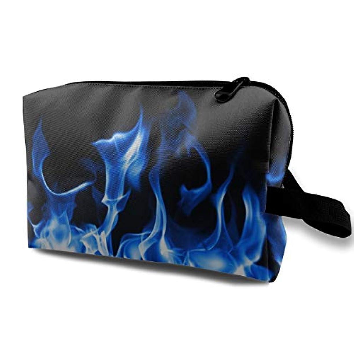 合図取り組むレッドデートBlue Fire 収納ポーチ 化粧ポーチ 大容量 軽量 耐久性 ハンドル付持ち運び便利。入れ 自宅?出張?旅行?アウトドア撮影などに対応。メンズ レディース トラベルグッズ